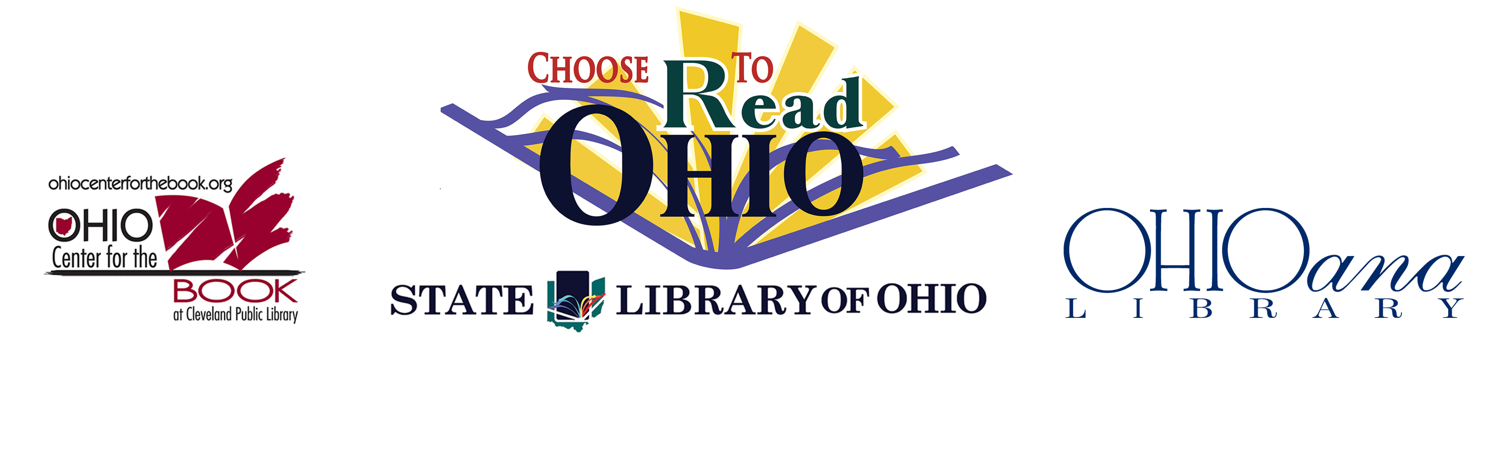 Choose to Read Ohio logo with partners' logos Ohio Center for the Book, State Library of Ohio, and Ohioana