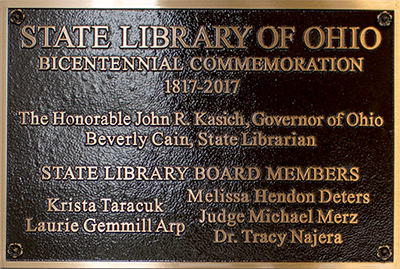 State Library of Ohio Bicentennial Commemorative Plaque