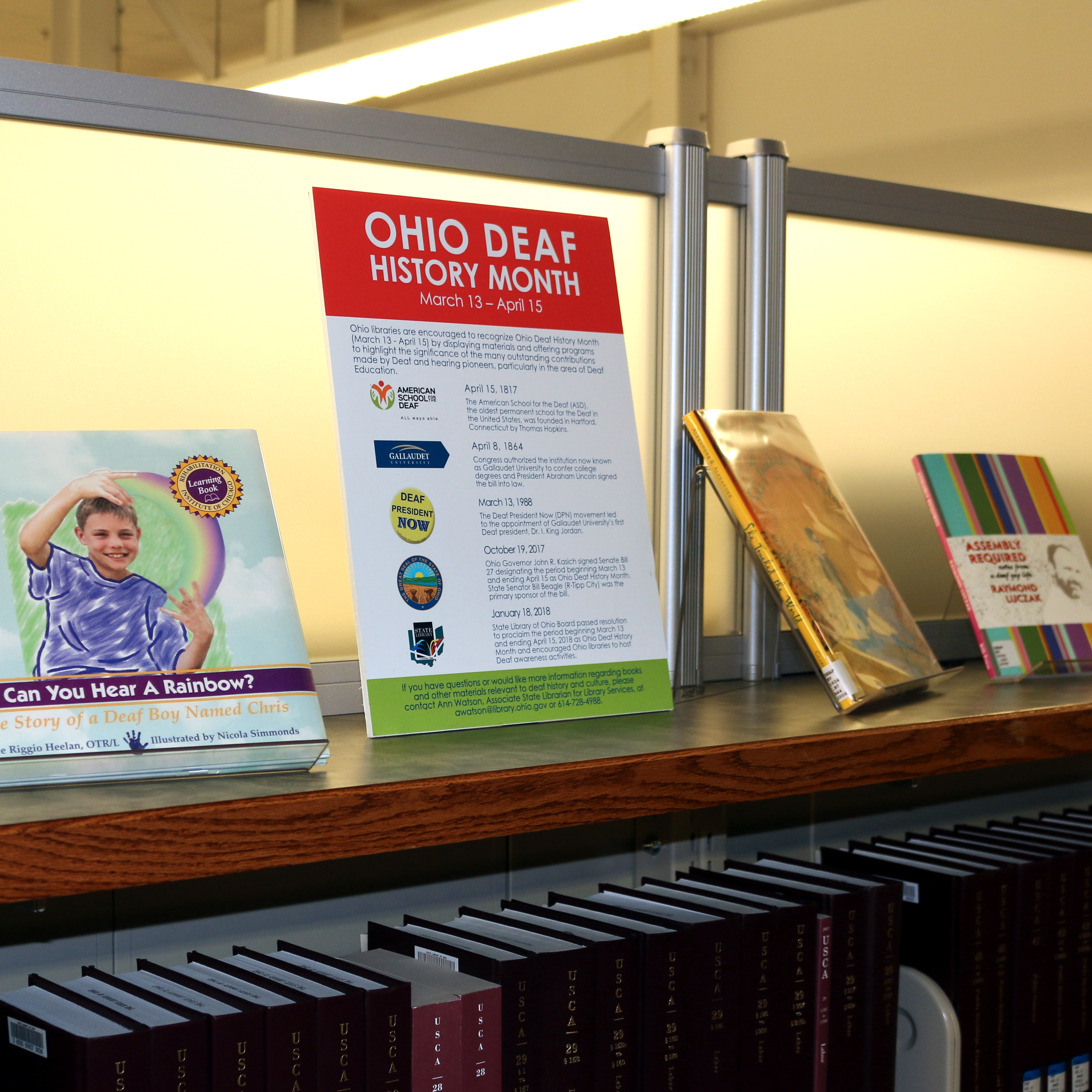 Photograph of book display in celebration of Ohio Deaf History Month