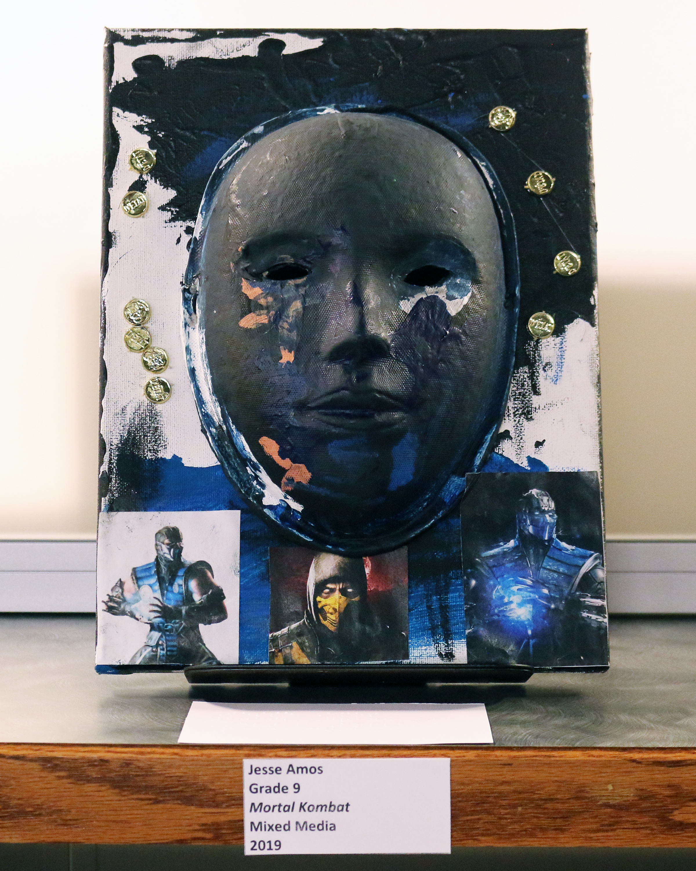 "Photo of ""Mortal Kombat"" by Jesse Amos - Ohio State School for the Blind Student Art Show 2019 at the State Library of Ohio"