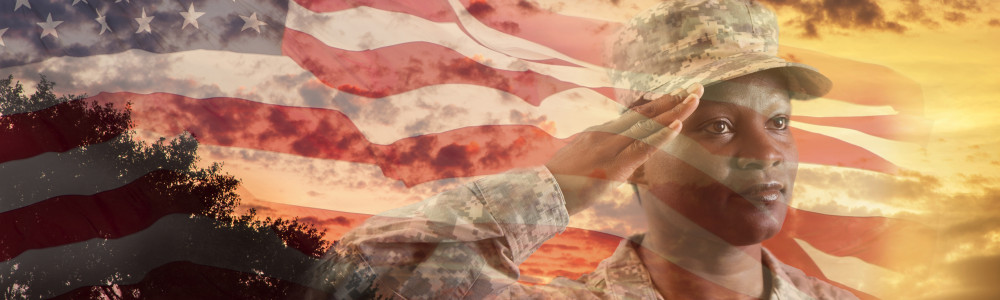 Photo composite of US solider with flag and sunset from Getty Images