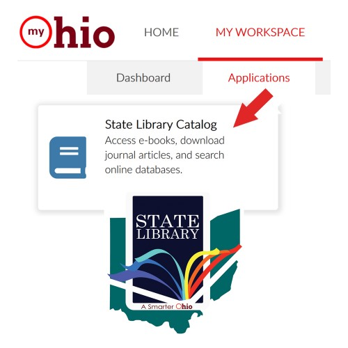 Graphic of MyOhio.gov with State Library App and logo