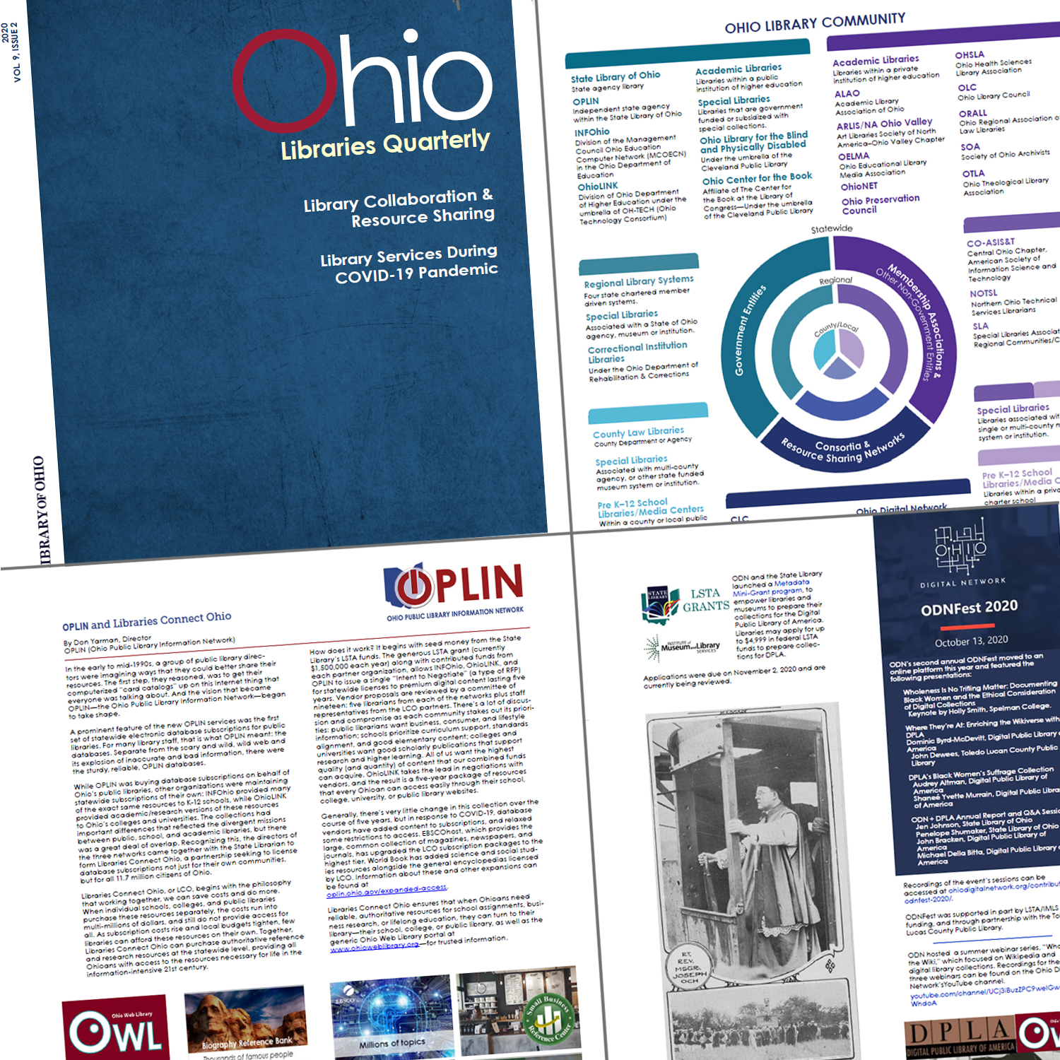 Graphic showing the cover and 3 pages of the Ohio Library Quartery Vol. 9 Issue 2