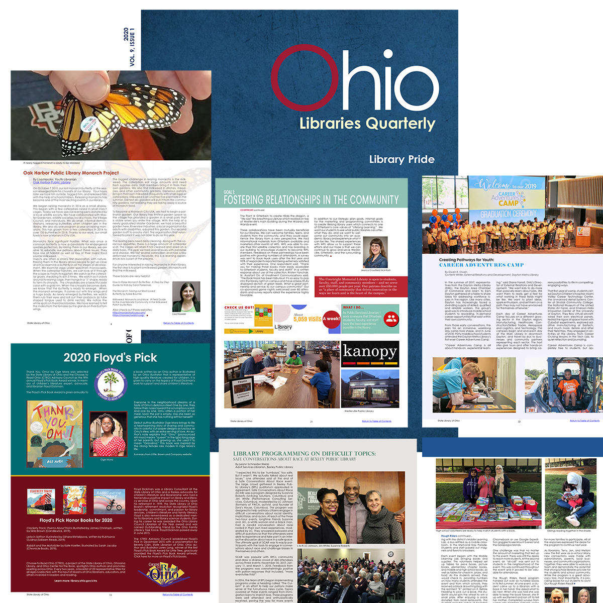 Graphic of Ohio Libraries Quarterly cover and inside pages v9-i1