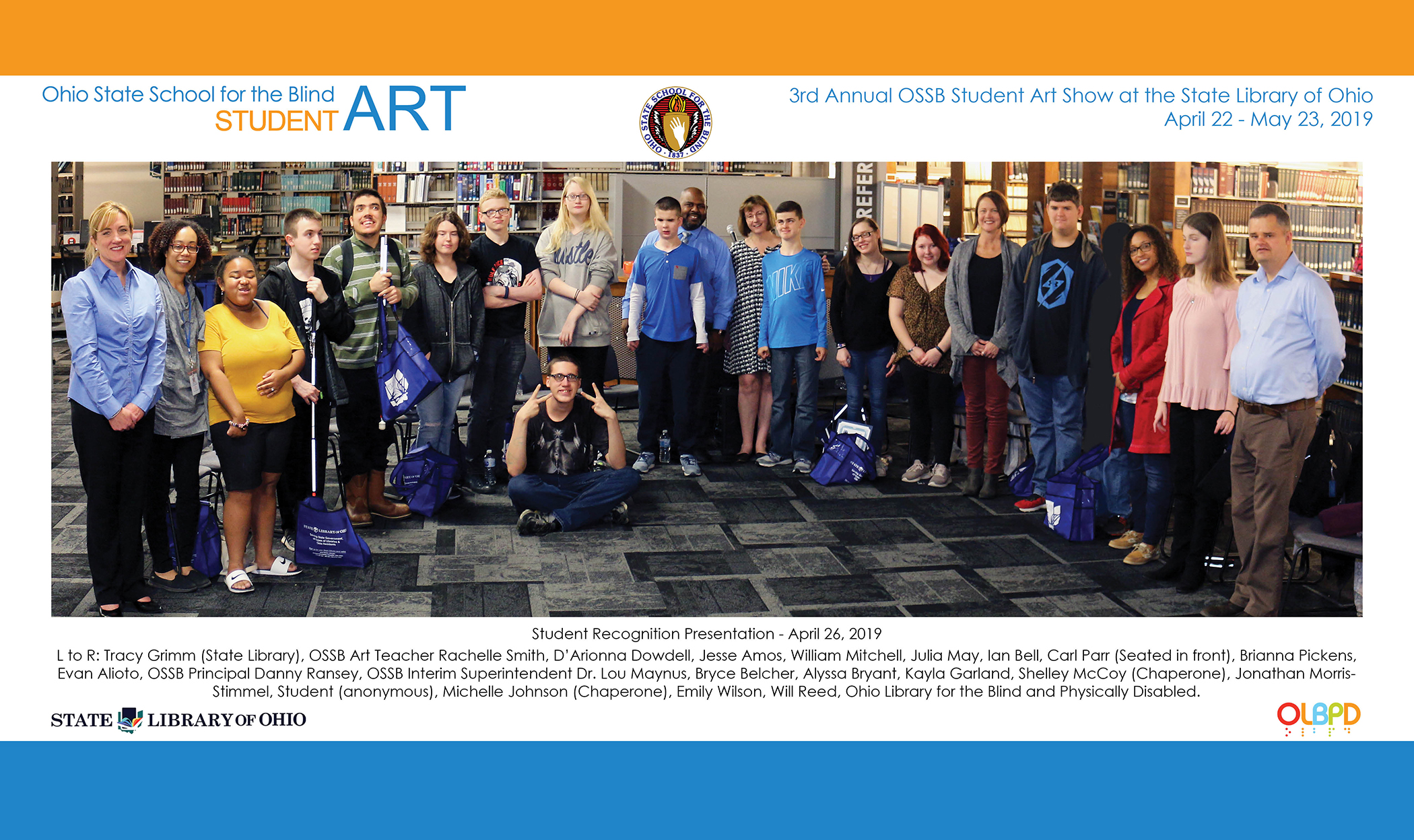 Photo of OSSB students and others at Art Show opening