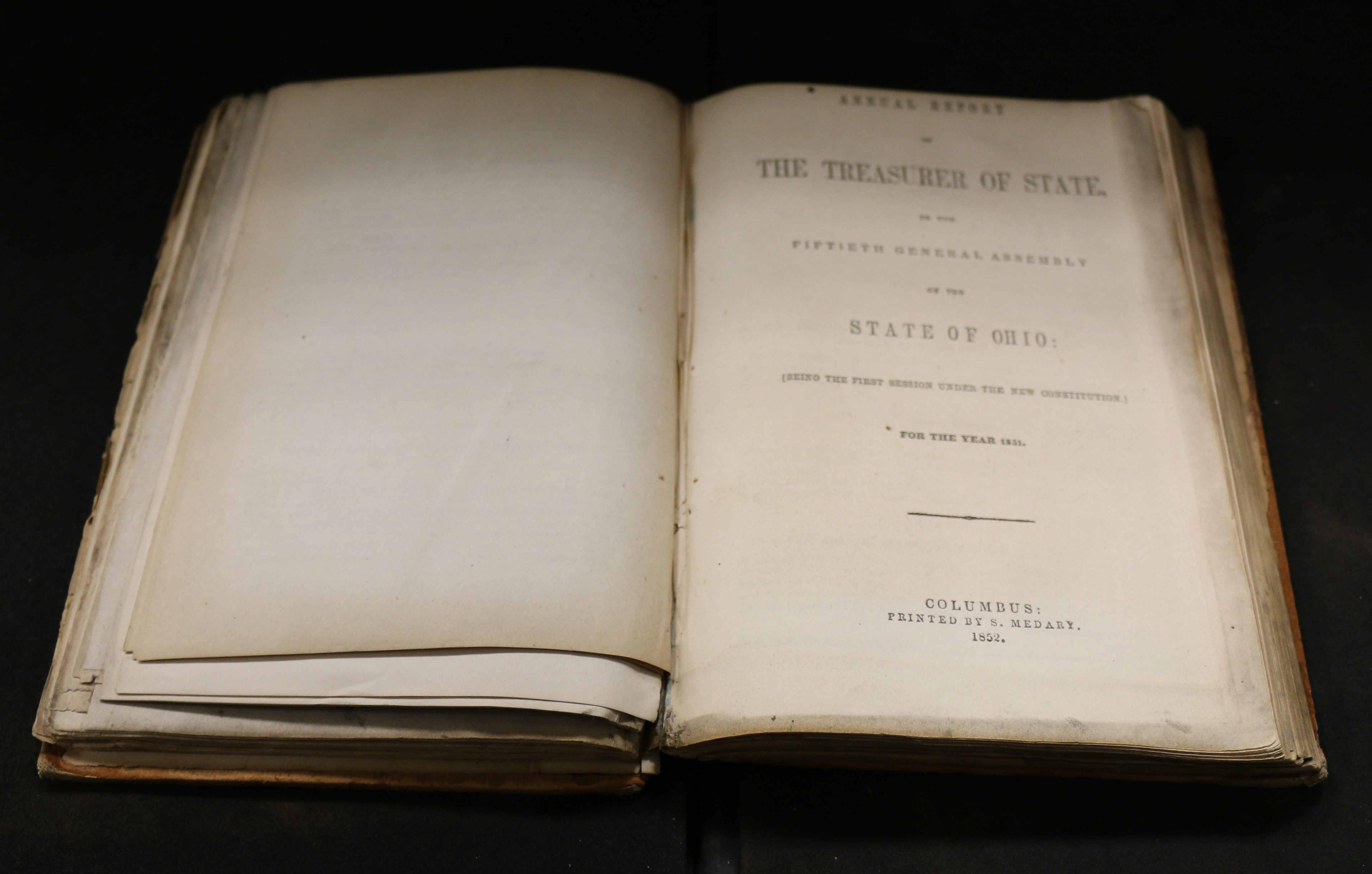 Photo of Ohio Treasurer Annual Report from 1851