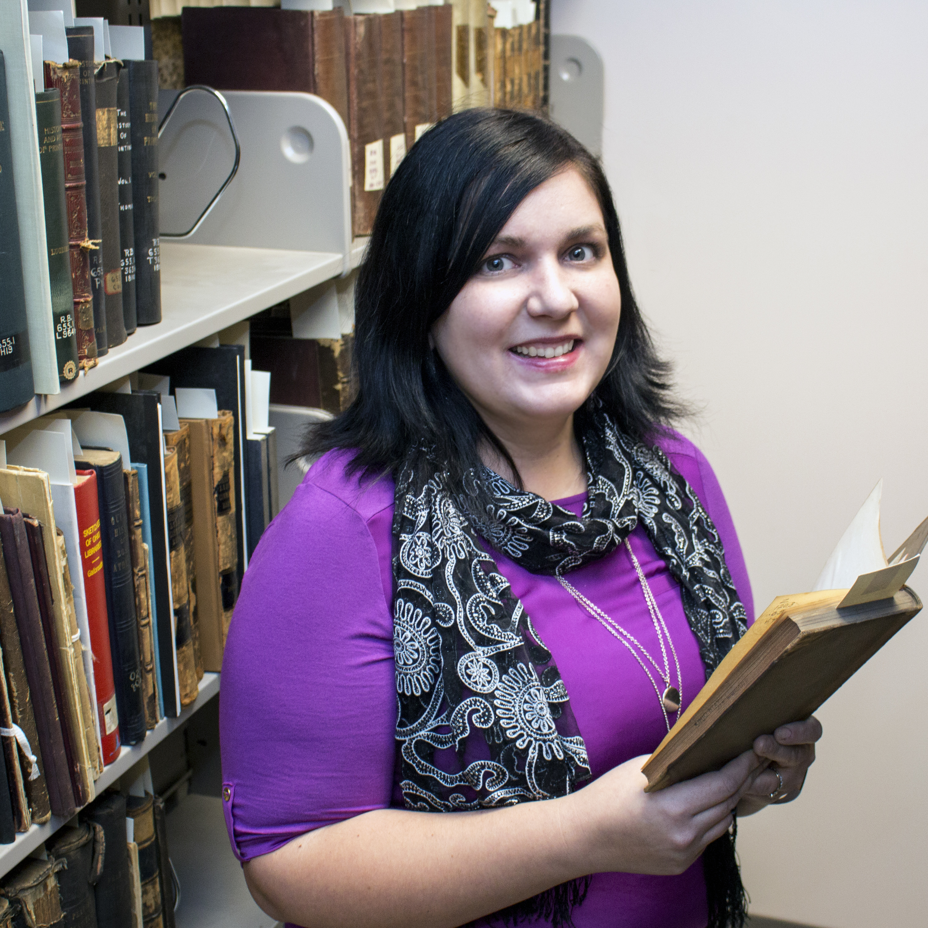 Penelope Shumaker in the State Library Special Collections Room