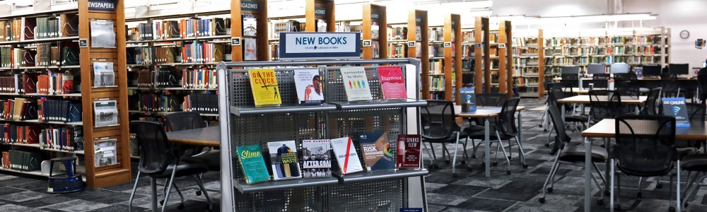 Photo of new books display inside State Library of Ohio - August 2019