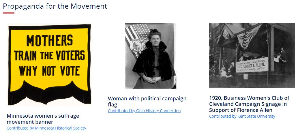 Screen view of Women's Suffrage and the 100th Anniversary of the 19th Amendment source set.